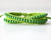 Beaded Friendship Bracelet, Wrap Bracelet, Lime Green and Grass Bracelet