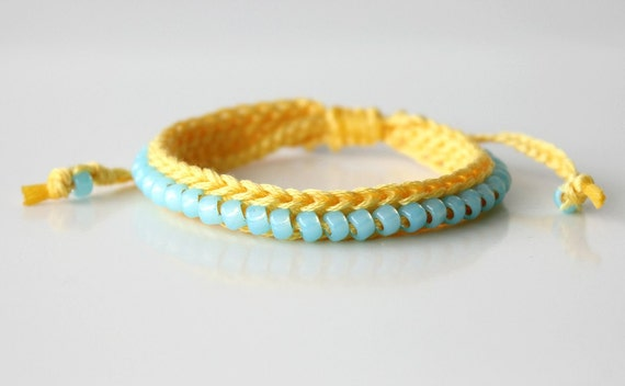 Yellow and Sky Blue Crocheted Beaded Bracelet