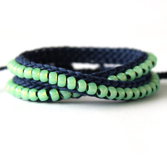 Navy and Sea Foam Beaded Bracelet