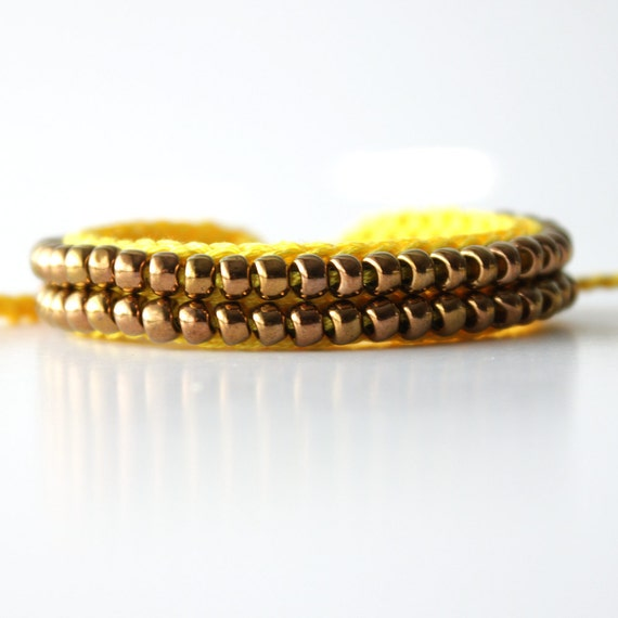 Beaded Friendship Bracelet, Yellow and Bronze