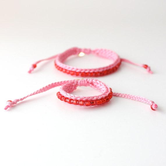 Mommy and Me Bracelet Set, Red and Pink Bracelets