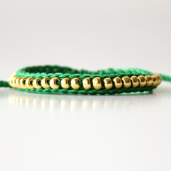 Beaded Friendship Bracelet, Emerald Green and Gold