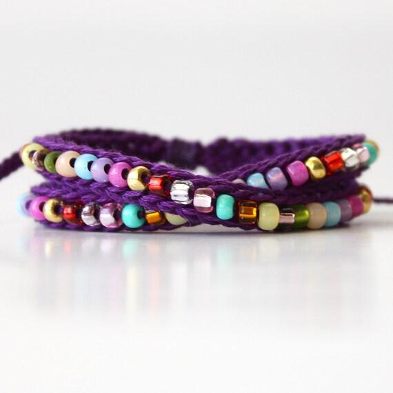 Confetti Wrap Beaded Friendship Bracelet, Purple and Multicolor Beads
