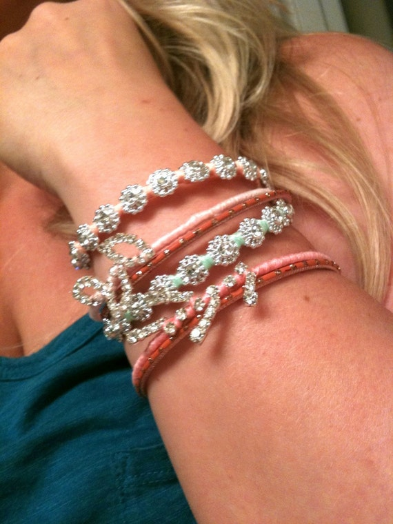 Set of Two Silver and Rhinestone Wrapped Bracelets with Button Closure Sparkly Sweet Glam Boho Chic Hippie Hipster Many Colors Free Shipping