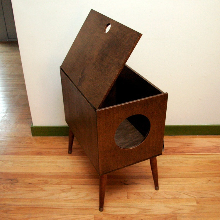 Mid century modern cat furniture litter box cover small for Furniture box