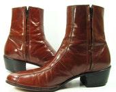 vintage john lennon beatle boots mens 10 D zipper brown florsheim western ankle cowboy