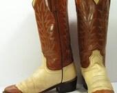 vintage acme cowboy boots womens 6 C or 6.5 m b bone brown cowgirl western leather faux lizard