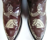 vintage cowboy boots mens 10 D brown western embroidered horse overlays leather equestrian