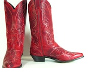 vintage cowboy boots womens 10 M B red tooled leather western cowgirl