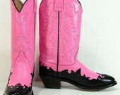 vintage cowboy boots pink womens 7.5 M B leather black western cowgirl