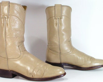 vintage cowboy boots womens 7 A bone cowgirl western justin ropers