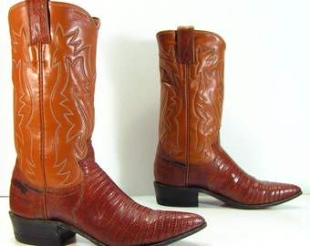 justin cowboy boots womens 5 a brown lizard leather pointy toe vintage western cowgirl