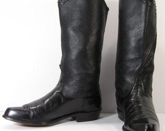 womens cowboy boots womens 7 m b black vintage western riding biker leather tony lama low heel