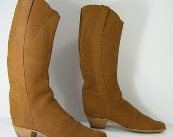 slouch boots womens 6.5 b m brown cowboy espirit euro 37 made in italy knee high cowgirl western leather