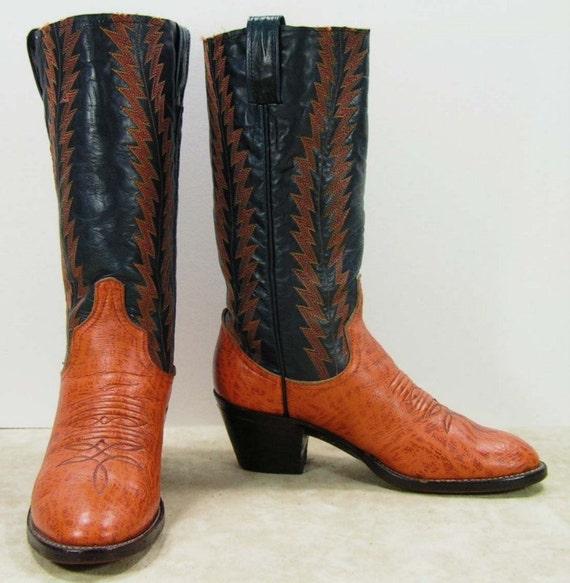 Vintage Larry Mahan Cowboy Boots Womens 6 5 M B Blue Orange