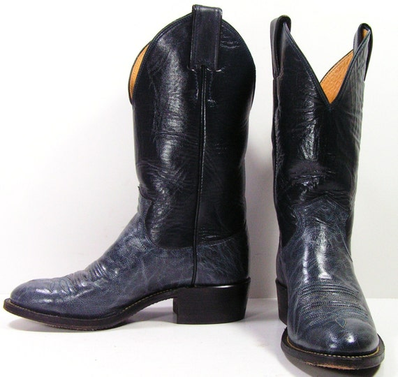 vintage justin cowboy boots womens 5 m b navy blue leather