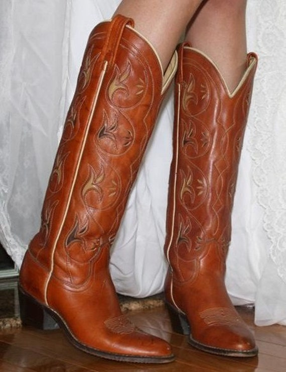 Vintage Acme knee high cowboy boots womens 6 C brown leather