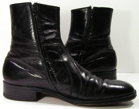 John Lennon Beatle Boots Mens 12 D Ankle Zipper Black Western