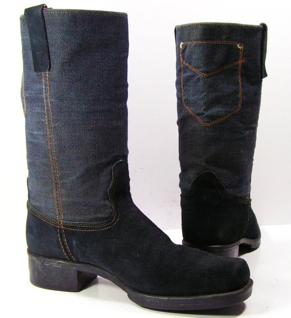 vintage denim cowboy boots mens 10 d blue suede western