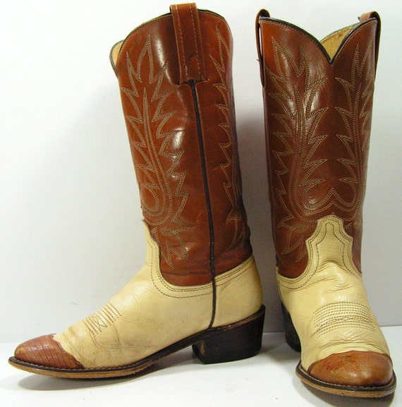 Lastest Womens Brown Vintage Western Leather Cowboy Cowgirl Boots Rhinestones Rodeo | EBay