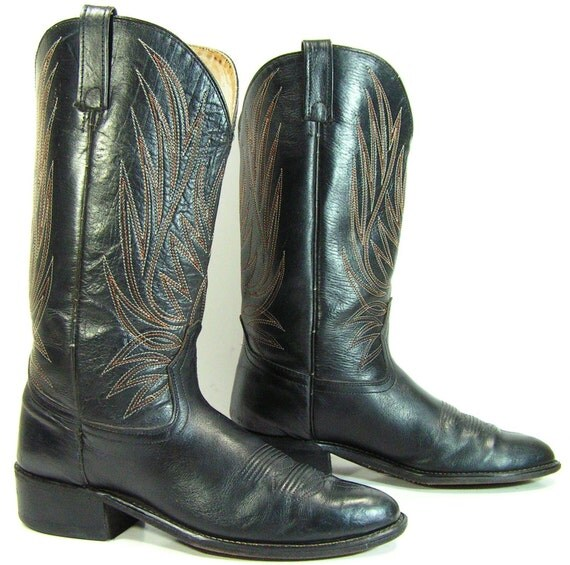 acme cowboy boots mens 9.5 D black western leather vintage womens 11