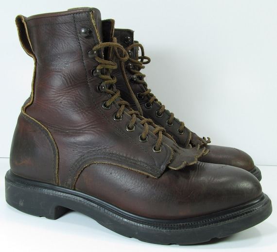 vintage ankle cowboy boots mens 7.5 D brown womens 10 western granny combat red wing
