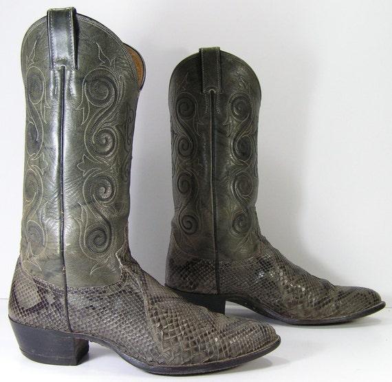 Justin Cowboy Boots Mens 9 5 B Gray Snake By Vintagecowboyboots