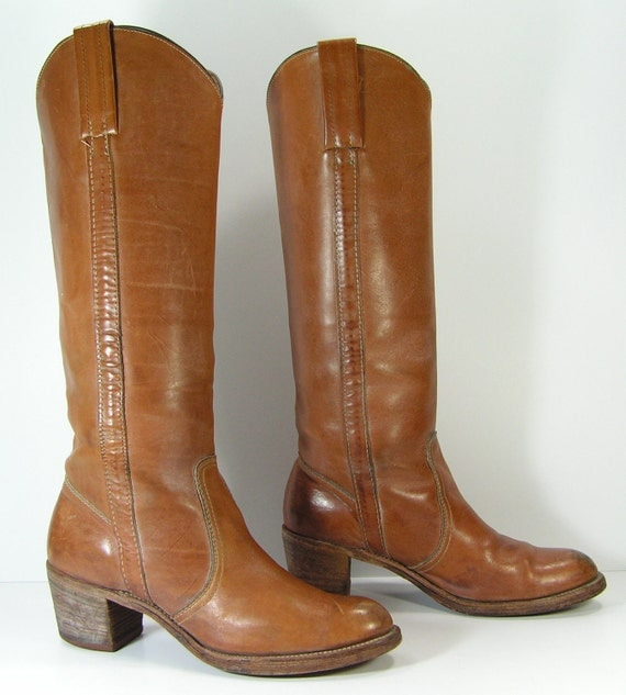 frye campus boots womens 9 AA narrow brown vintage western cowboy cowgirl leather
