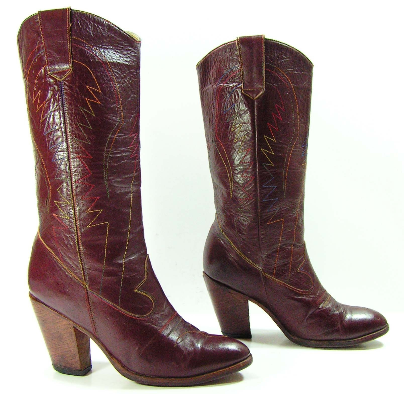 Cowboy Boots Womens 7 M B Burgundy High Heel Leather Western