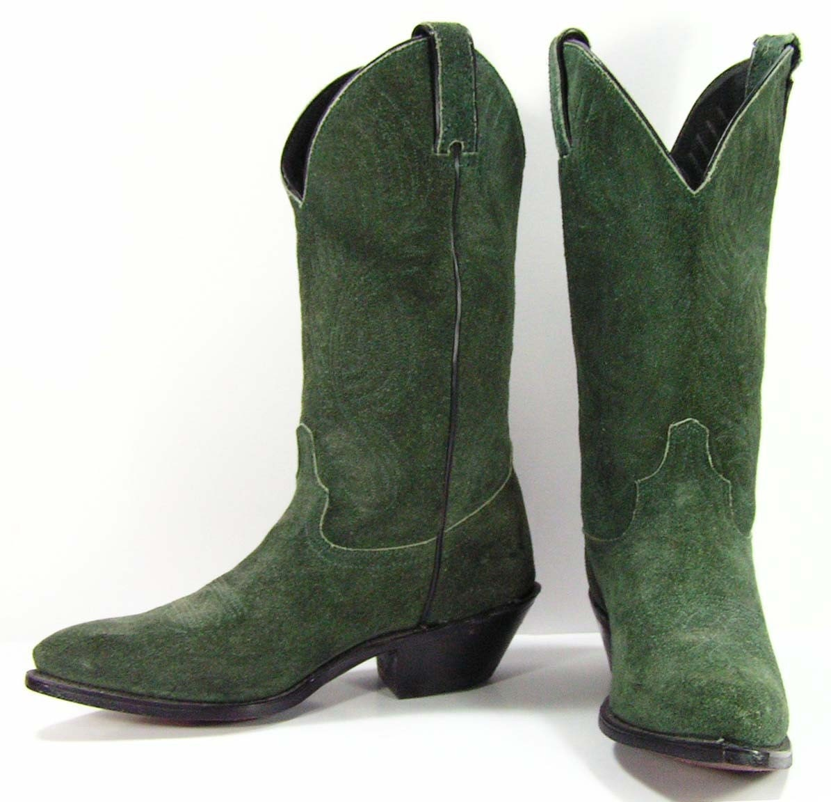 cowboy boots womens 6.5 B M green leather suede western
