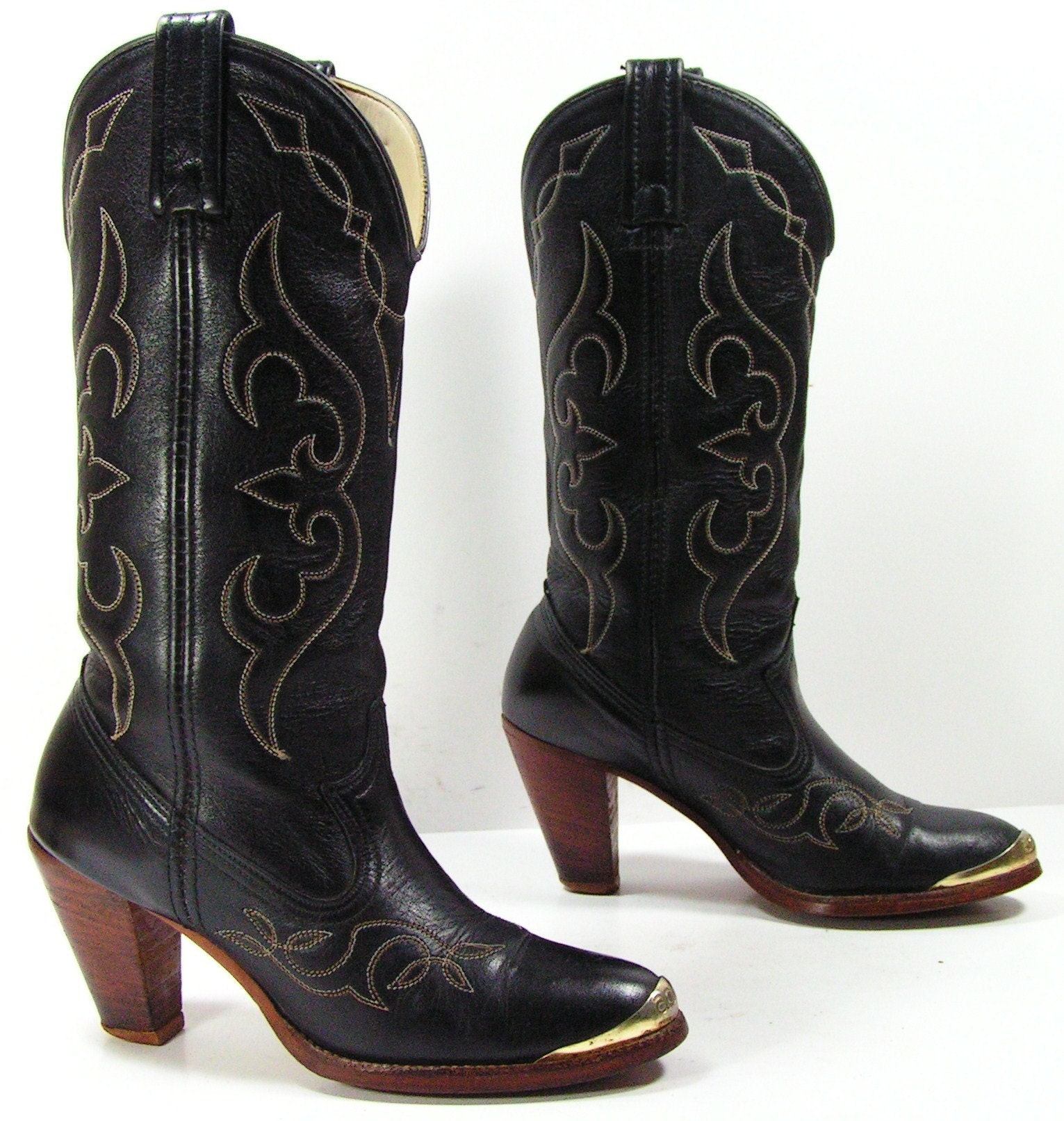 vintage cowboy boots womens 5 M B acme black high heel cowgirl