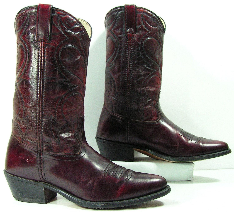 acme cowboy boots mens 9 5 d burgundy western womens 11 m b