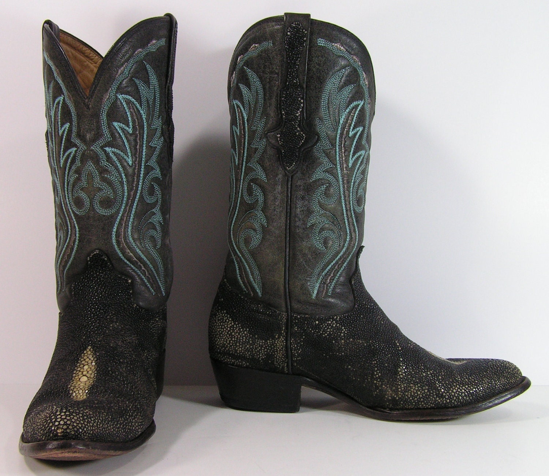 vintage stingray cowboy boots womens 10 b m black turquoise