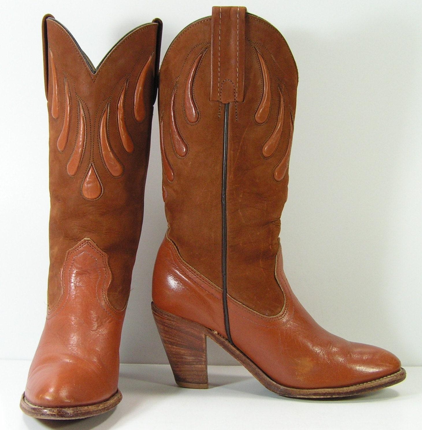 frye cowboy boots womens 6 5 b m vintage western high heels