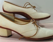 mikelos shoes womens 7.5 n leather suede bone dress pumps vintage retro greece heels