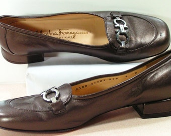 ferragamo horsebit loafers womens 5 b m brass brown leather salvatore italy