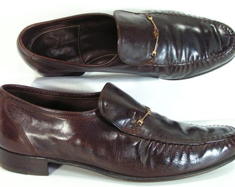 vintage florsheim dress shoes mens 11 D brown horse bit loafers 1970s disco