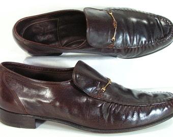 vintage florsheim dress shoes mens 11 D brown horse bit loafers 1970s disco