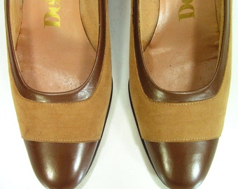 DeLISO  pumps shoes womens 7.5 b brown tan heels vintage 1970s suede leather