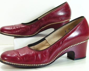 gold burgundy pumps shoes womens 8 aa disco heels leather retro 1970s