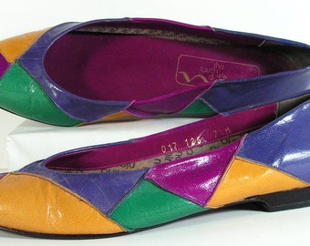 rainbow flats womens 7.5 m shoes blue green mustard violet multicolor flats vintage