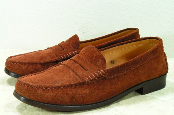 tod's dress shoes womens 8.5 M brown  size 39 loafers ladies leather suede tods