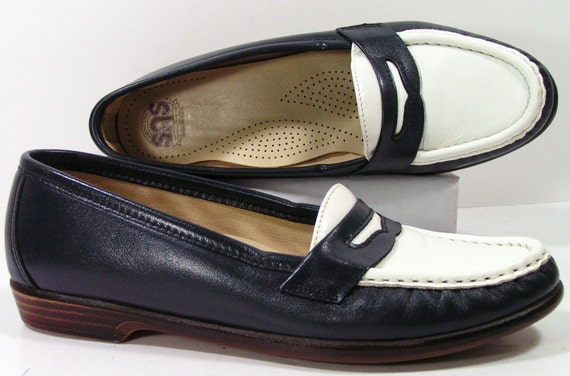 Sas Shoes Womens 6 5 N Navy Blue White Granny Loafers Slippers