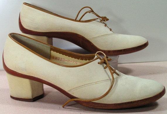 mikelos shoes womens 7.5 n leather suede bone dress pumps vintage retro greece heels