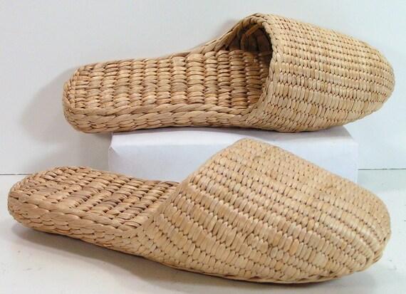 basket weave shoes womens 7 straw grass handmade woven tan