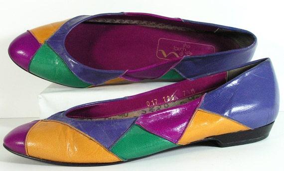 rainbow flats womens 7.5 m shoes blue green mustard violet multicolor flats vintage