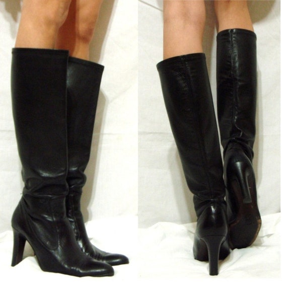 cole haan knee high boots womens 9 5 b m black soft leather