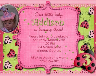 Ladybug Birthday Invitation-Digital File