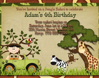 Jungle Safari Zoo  Birthday Invitation-Digtial File