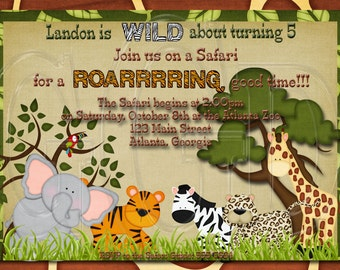 Jungle Safari Invitation BOY OR GIRL-Digtial File